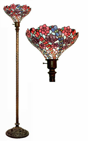 Tiffany Style Vine Floral Torchiere Lamp by Warehouse of Tiffany 2886T+BB75B - Peazz.com