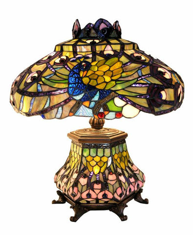 Tiffany Style Peacock Lantern Table Lamp by Warehouse of Tiffany 2954#LSH - Peazz.com