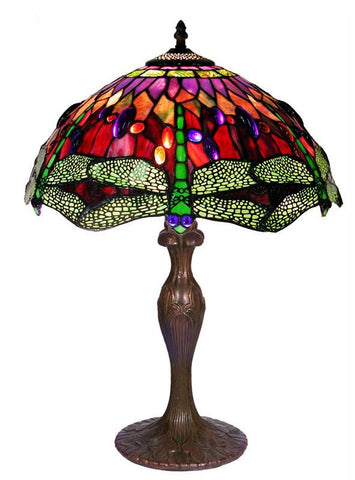 Tiffany Style Dragonfly Table Lamp by Warehouse of Tiffany 305C+BB06 - Peazz.com