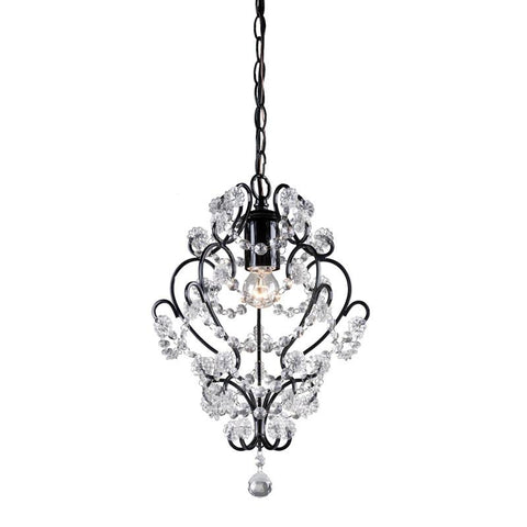 Sterling Industries 122-005 Black Framed And Clearcrystal Mini Pendant Lamp - Peazz.com