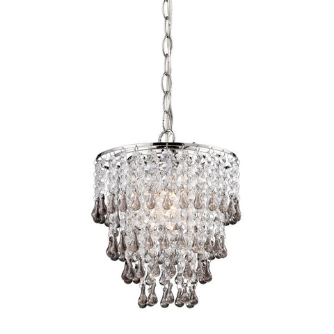 Sterling Industries 122-006 Teak And Clear  Crystal Pendant Lamp - Peazz.com