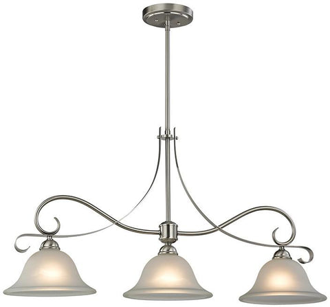 Cornerstone 1003IS/20 Brighton 3 Light Island In Brushed Nickel - Peazz.com