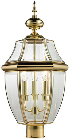 Cornerstone 8603EP/85 Ashford 3 Light Exterior Post Lantern In Antique Brass - Peazz.com