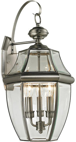 Cornerstone 8603EW/80 Ashford 3 Light Exterior Coach Lantern In Antique Nickel - Peazz.com