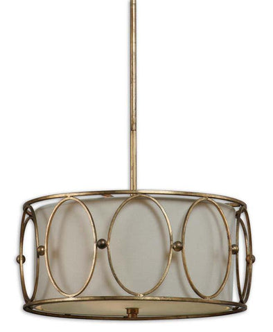 Uttermost 21955 Ovala 3 Light Gold Drum Pendant - UTMDirect