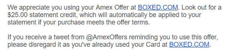 #AmexBoxed - American Express syncing offer for Boxed.com
