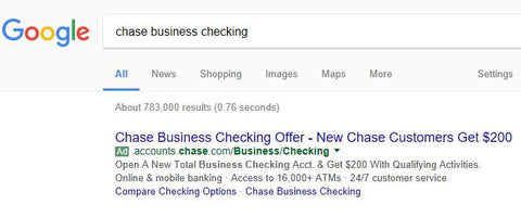 checking bonus coupon for business banking, Chase