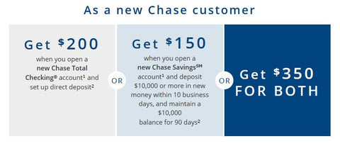 $350 Chase bonus coupon for $200 checking plus $150 savings offer