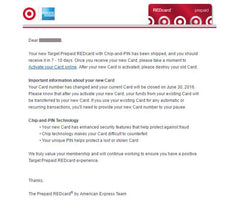 Amex email about Target Prepaid REDcard being replaced with Chip-and-Pin card