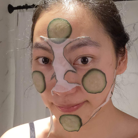 Trying on Hydrating Cucumber Slice Mask