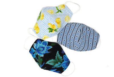 100% Cotton Reusable Fabric Face Masks with Nose Wire