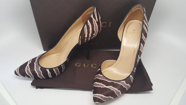 GUCCI NOAH PONY HAIR ZEBRA HIGH HEEL CUT-OUT PUMPS - SIZE 38.5
