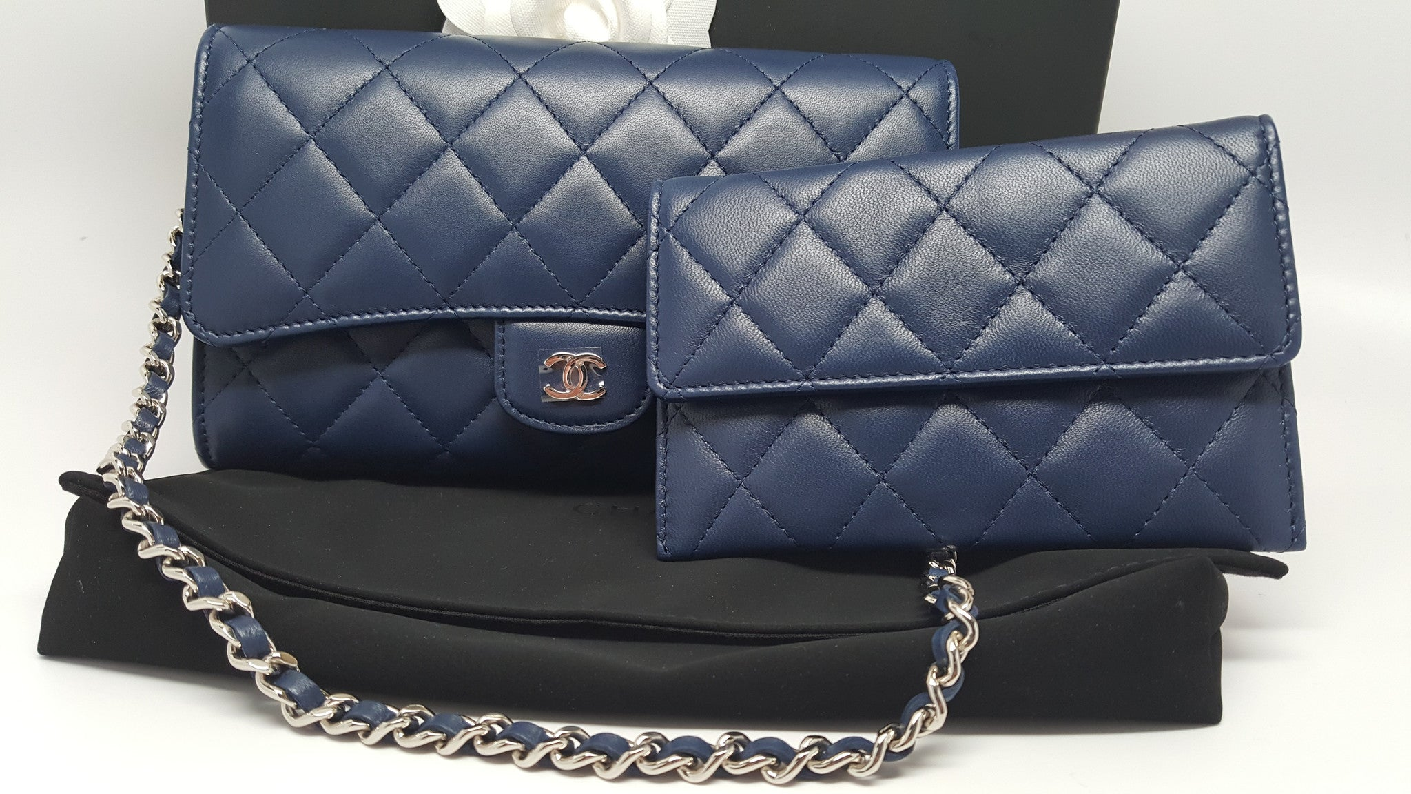 CHANEL QUILTED LAMBSKIN FLAP WALLET ON CHAIN IN DARK BLUE