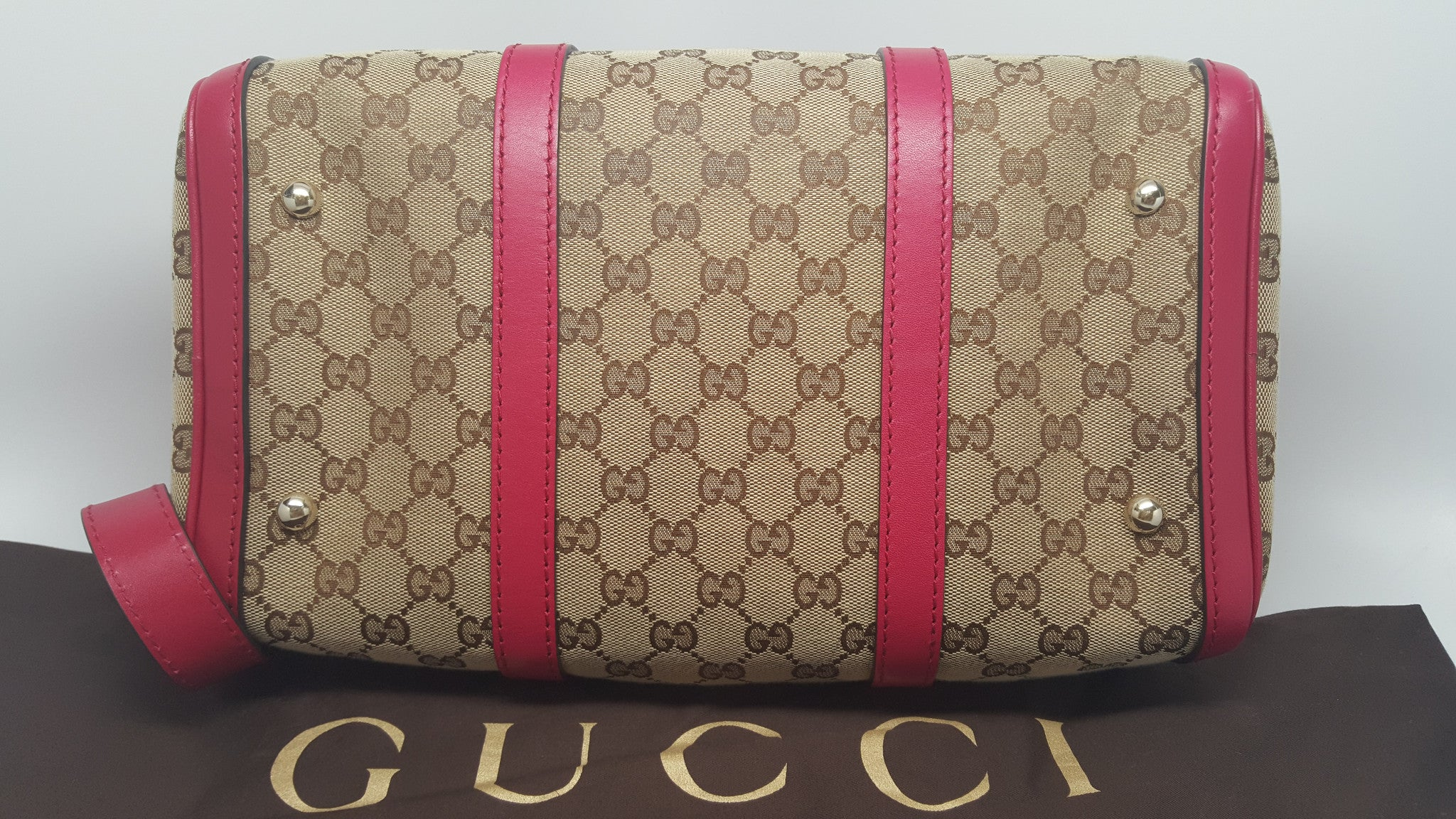 GUCCI PINK LEATHER GG CANVAS BOSTON BAG