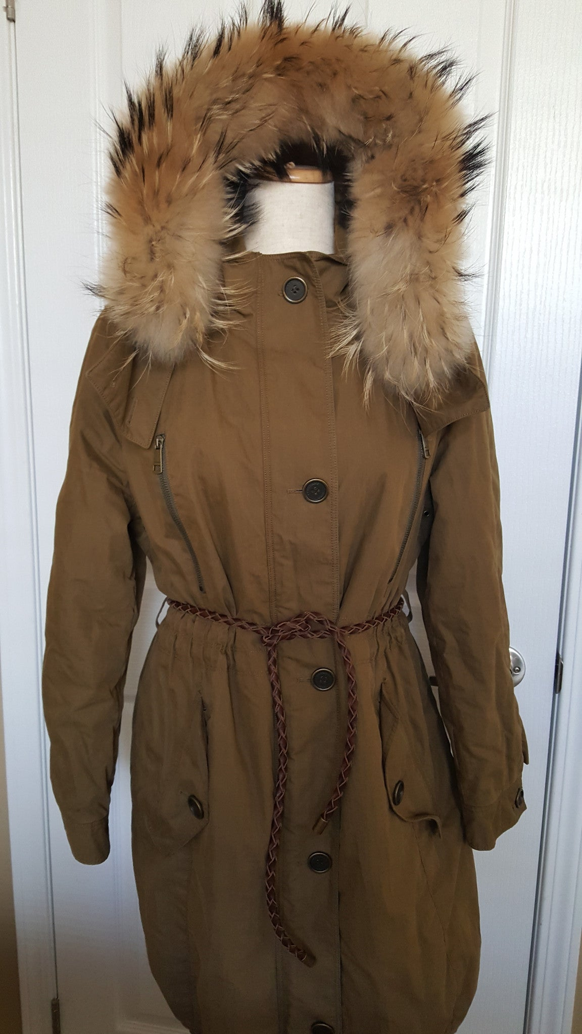 BURBERRY BRIT OLIVE GREEN COTTON JACKET WITH FUR TRIM COLLAR - SIZE US 8