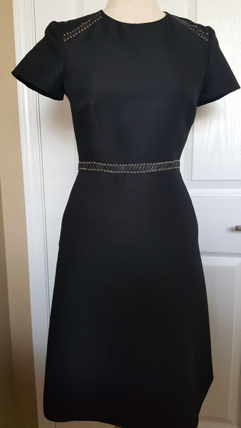 Burberry london leather trimmed wool silk dress size us for Burberry shirt size chart