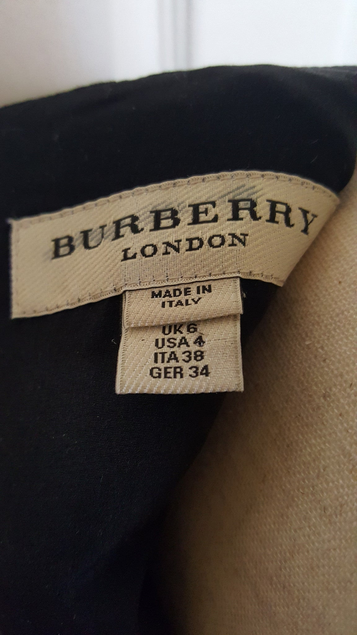 BURBERRY LONDON LEATHER TRIMMED WOOL/SILK DRESS - SIZE US 4