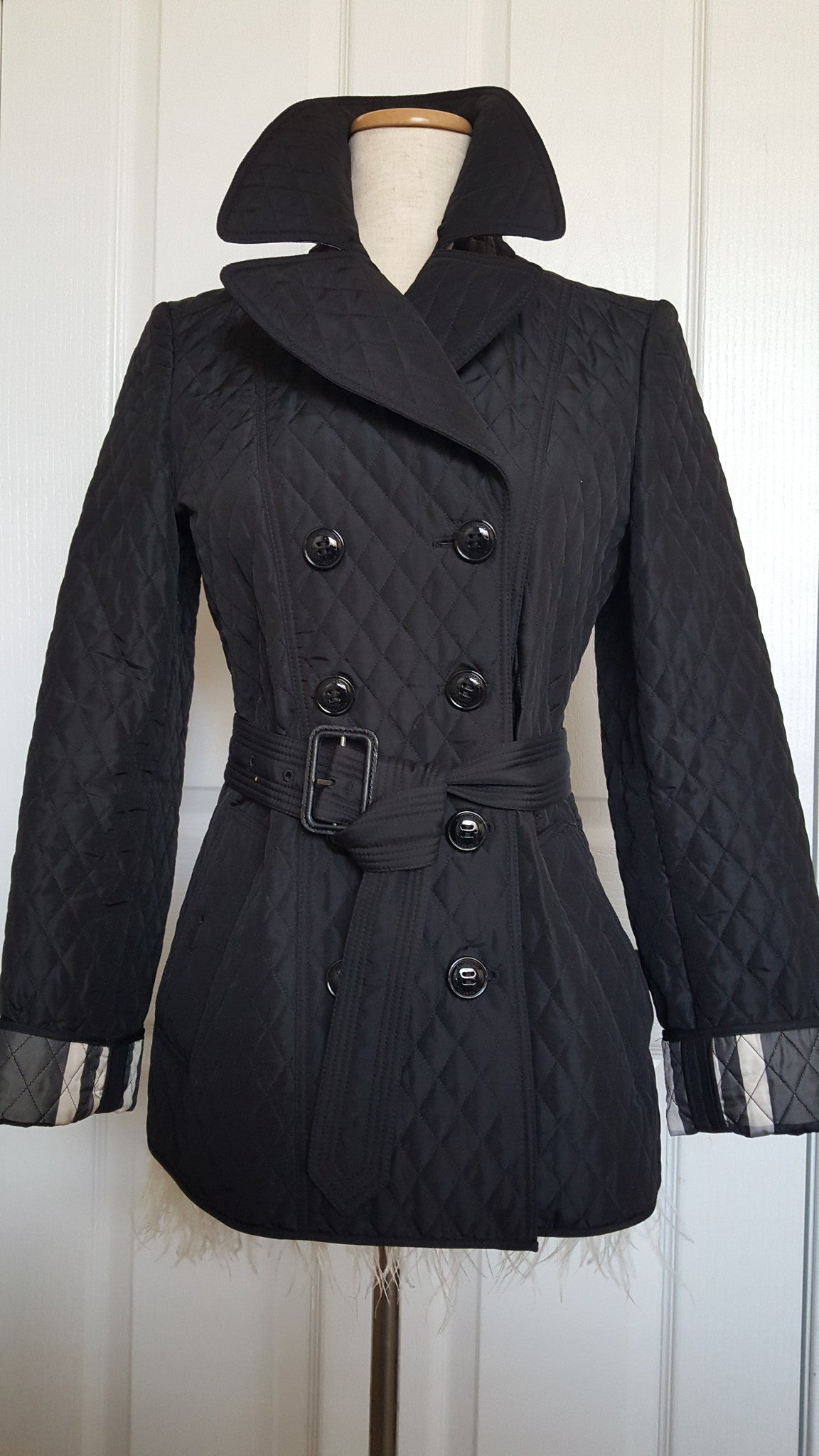 BURBERRY LONDON CHECK DETAIL DIAMOND QUILT JACKET - SIZE US 4