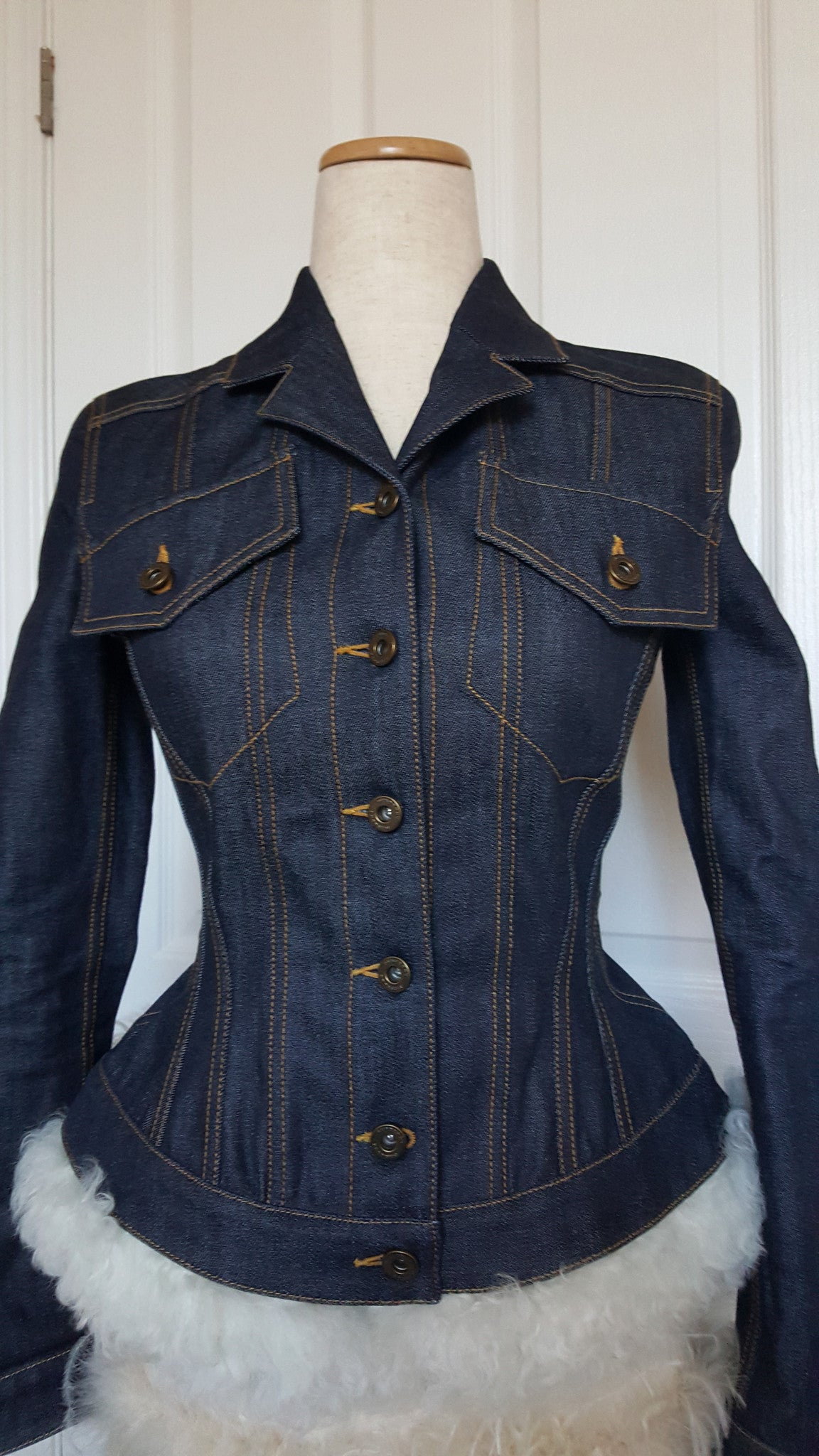 BURBERRY PRORSUM SHEARLING TRIMMED DENIM JACKET - SIZE US 4