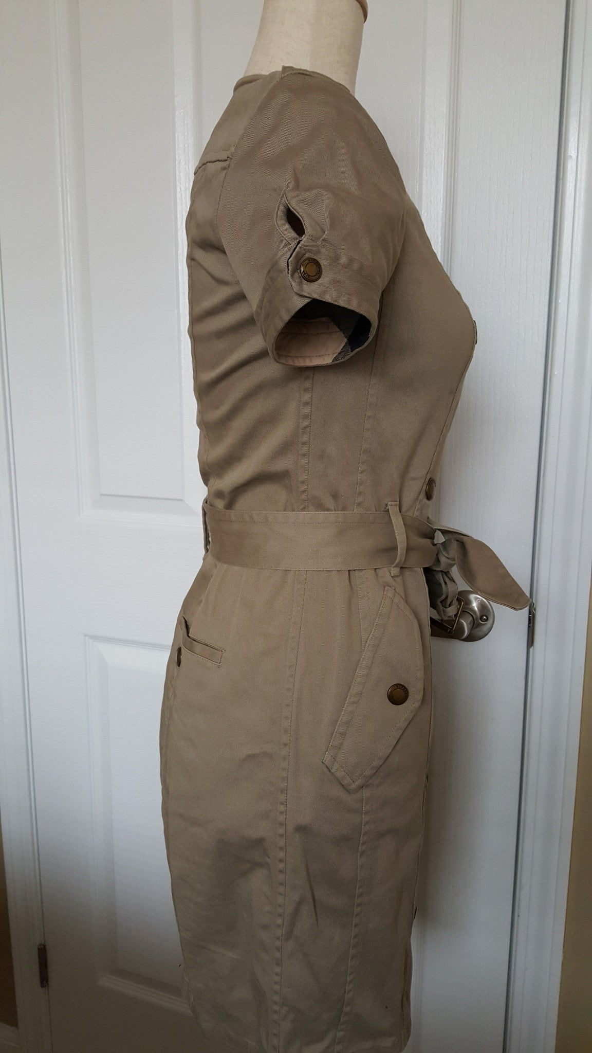 BURBERRY BRIT BEIGE COTTON TRENCH DRESS - SIZE US 4