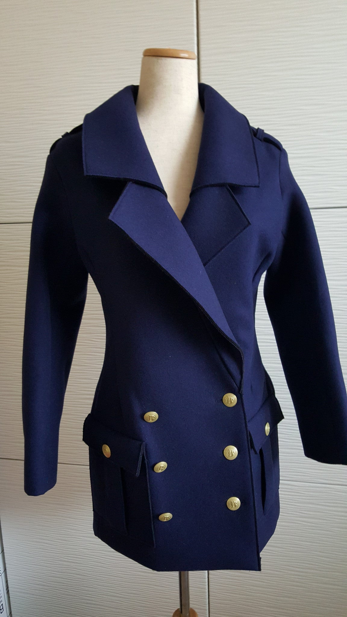 PIERRE BALMAIN DOUBLE BREASTED TWILL COAT - SIZE 4