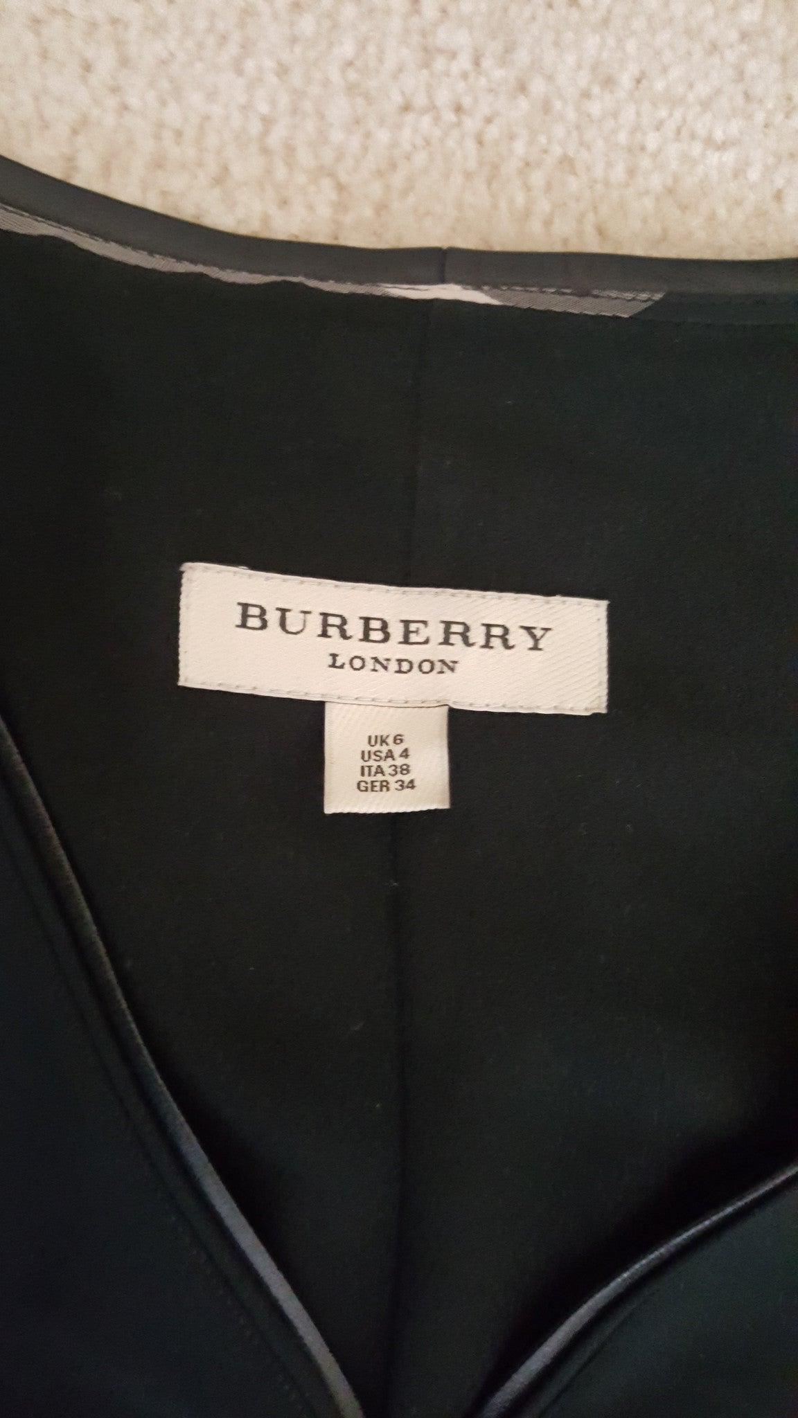 BURBERRY LONDON LEATHER AND METAL DETAIL SHIFT DRESS - BLACK - SIZE US 4