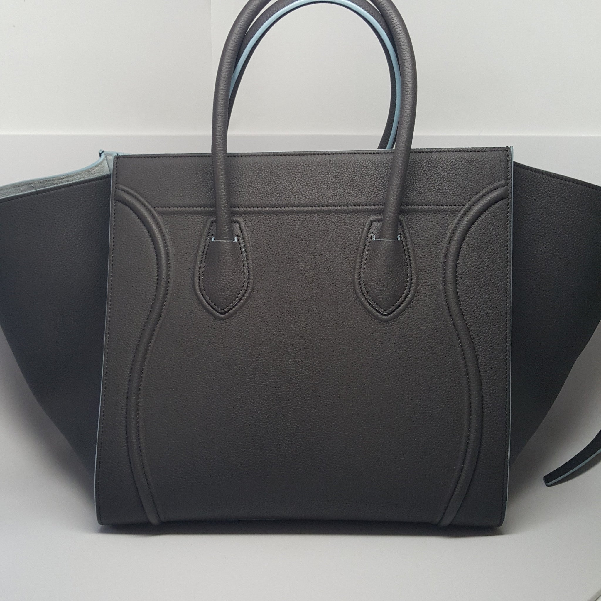 CELINE DARK GRAY AND LIGHT BLUE MEDIUM LUGGAGE PHANTOM BAG