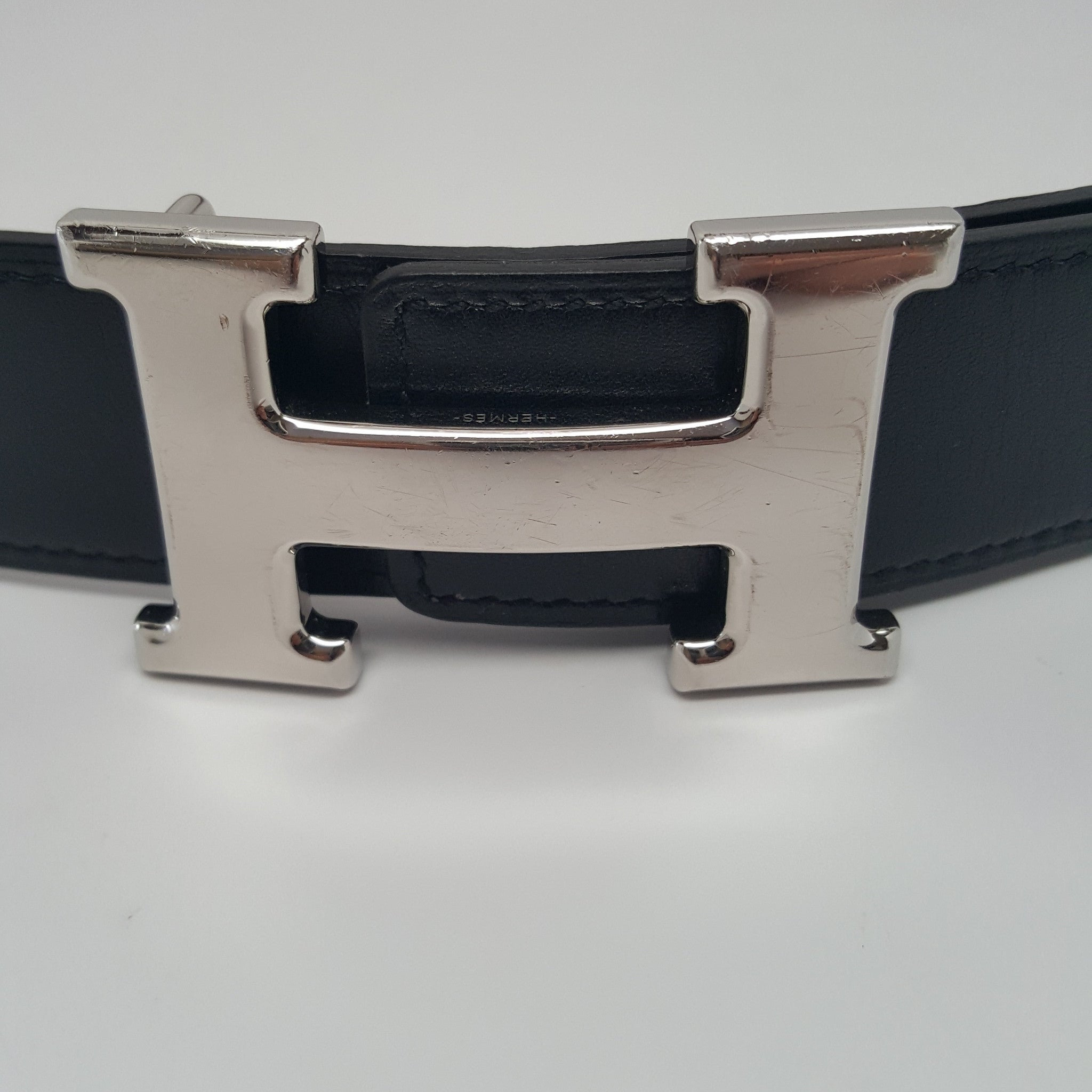 HERMES CONSTANCE PALLADIUM H BUCKLE REVERSIBLE BLACK LEATHER BELT