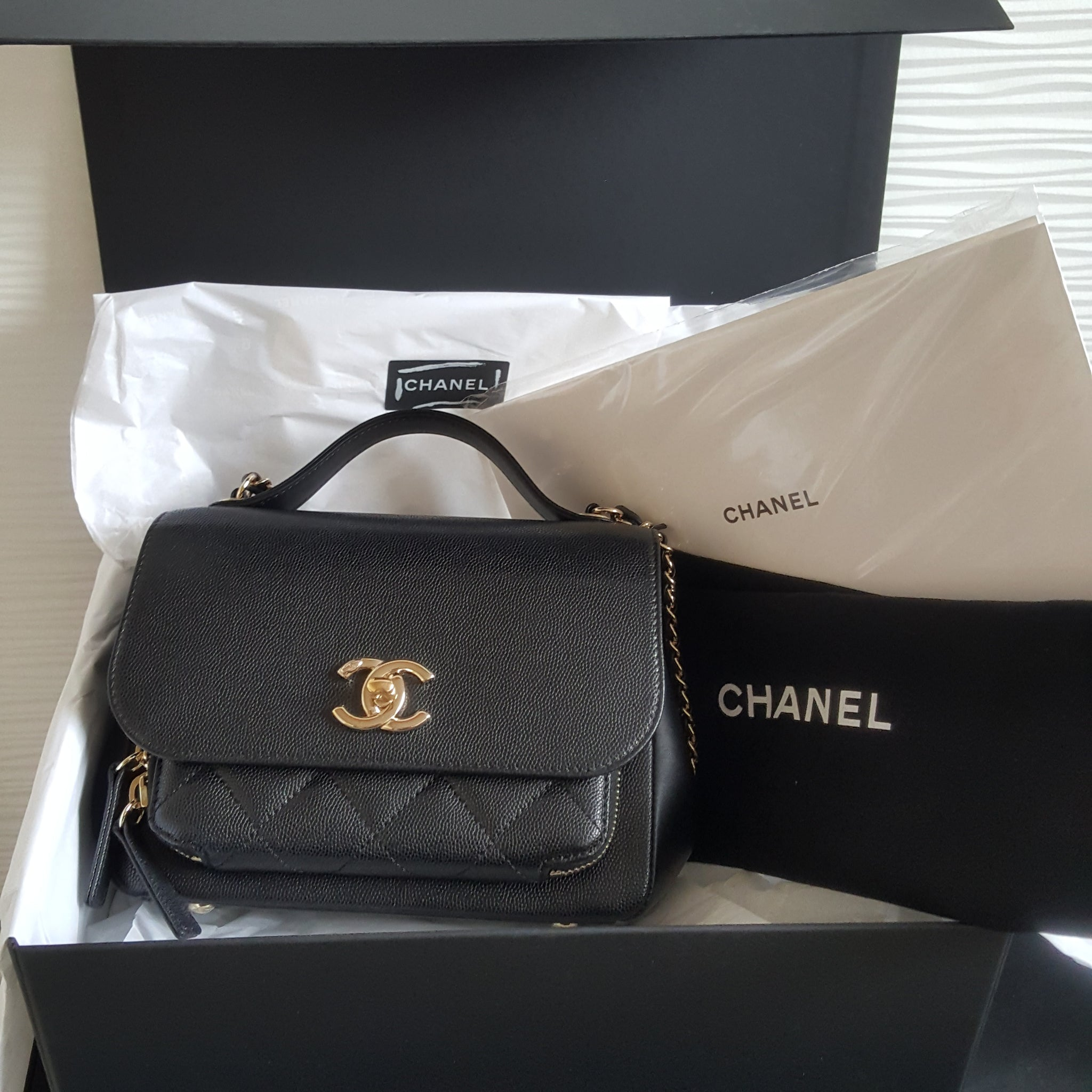 CHANEL BLACK GRAINED CALFSKIN FLAP BAG WITH TOP HANDLE (MINI)