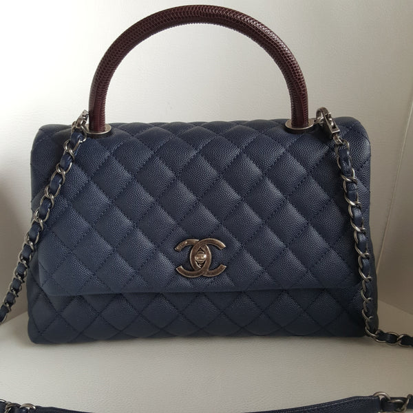 Chanel Navy Blue Caviar Medium Flap Bag With Top Handle
