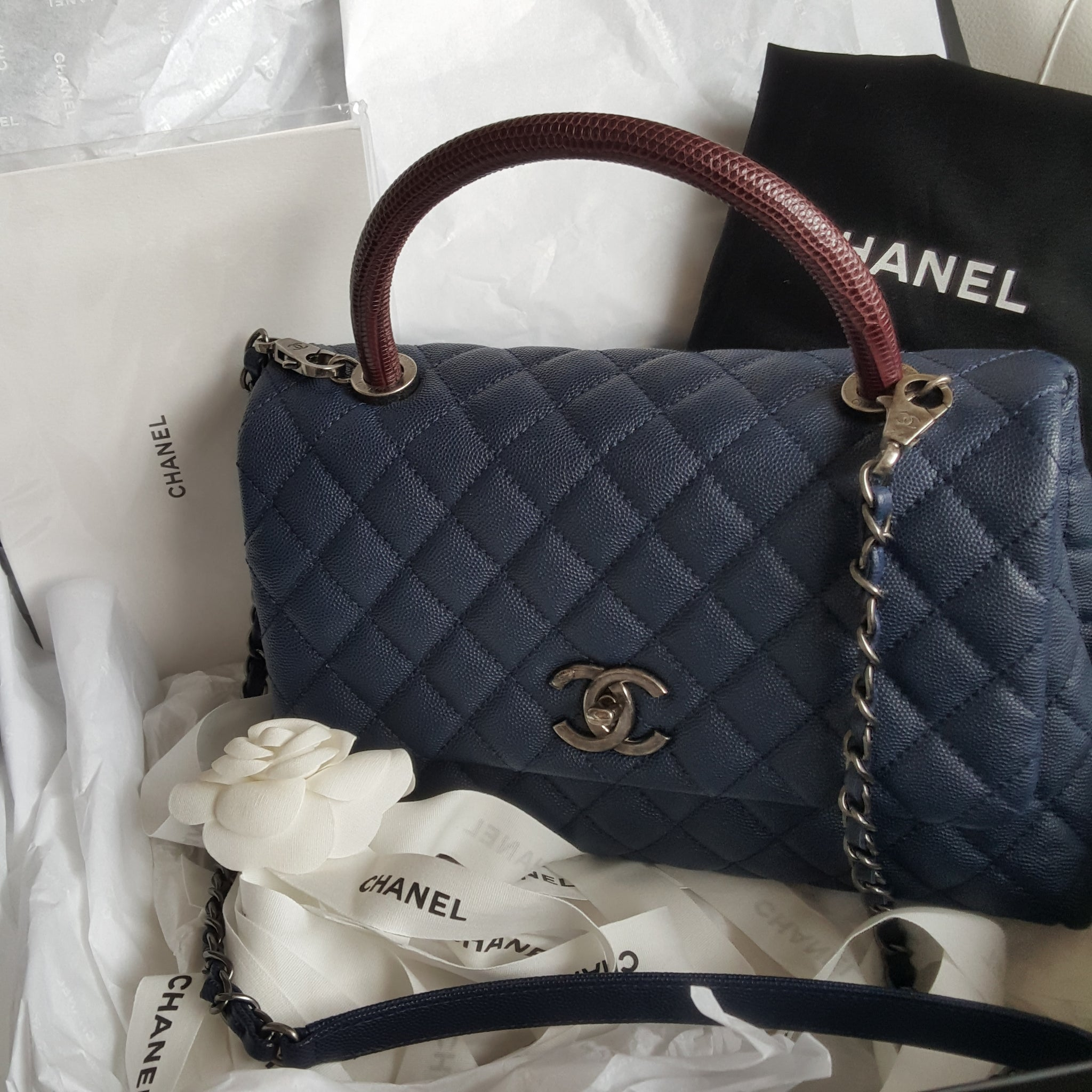 d2f58da7d3f647 Chanel Flap Bag With Top Handle Navy Blue | Stanford Center for ...