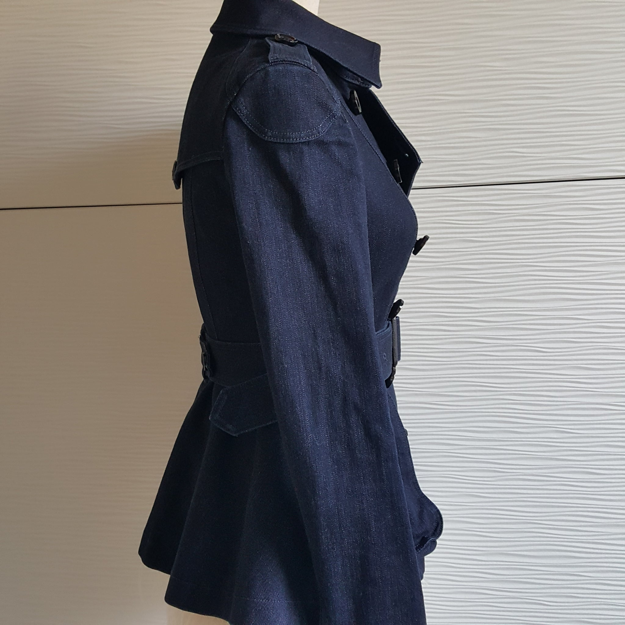 BURBERRY BRIT DENIM TRENCH COAT - SIZE XS