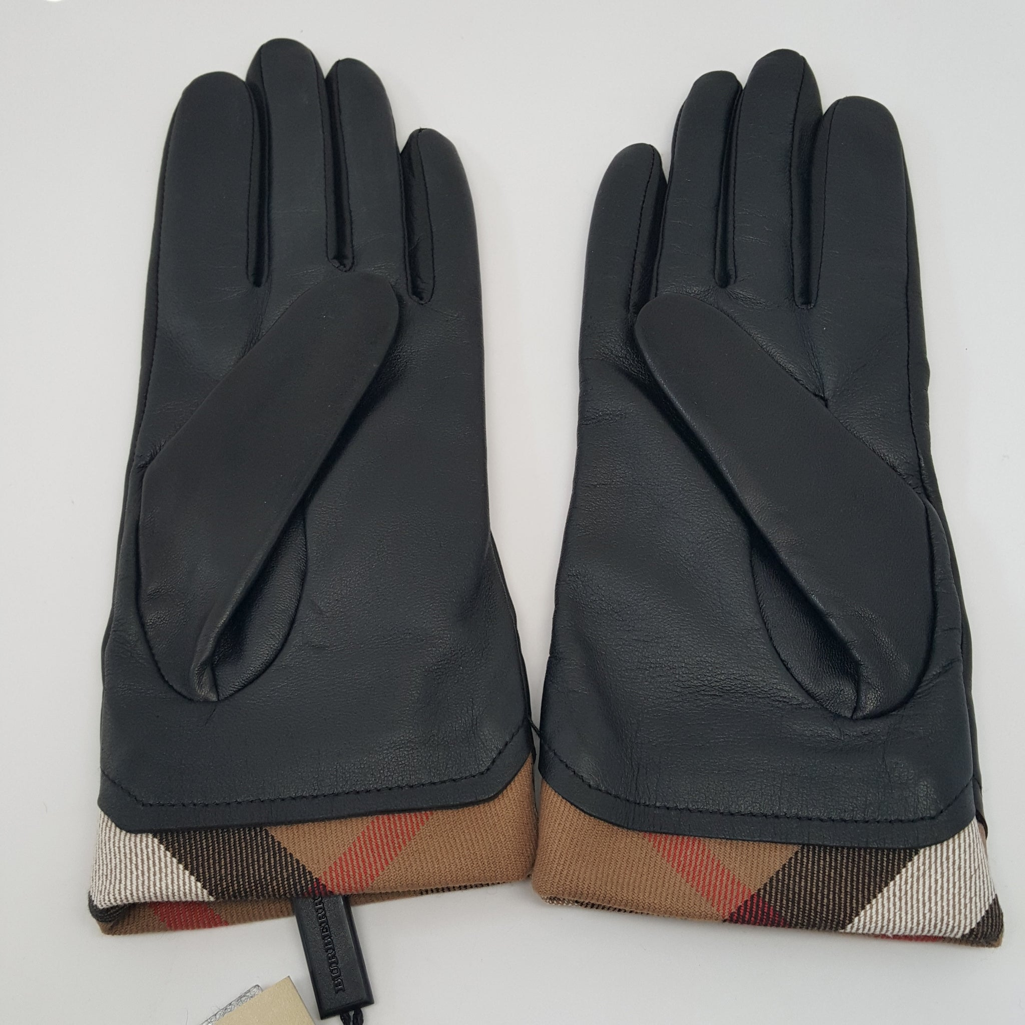 BURBERRY LEATHER HOUSECHECK TRIM JENNY TOUCH GLOVE - SIZE 7.5