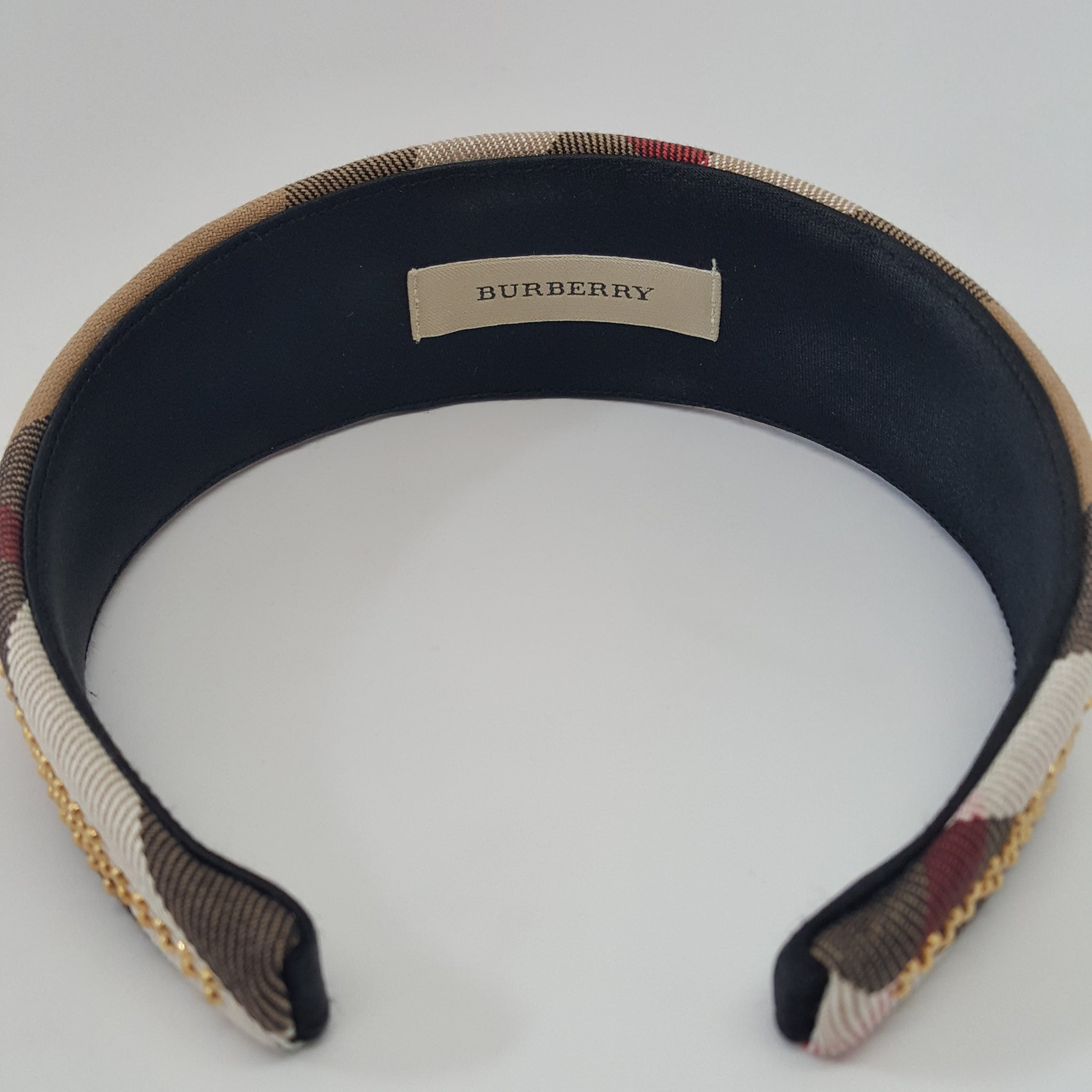 BURBERRY HOUSECHECK STUDDED HEADBAND - ONE SIZE