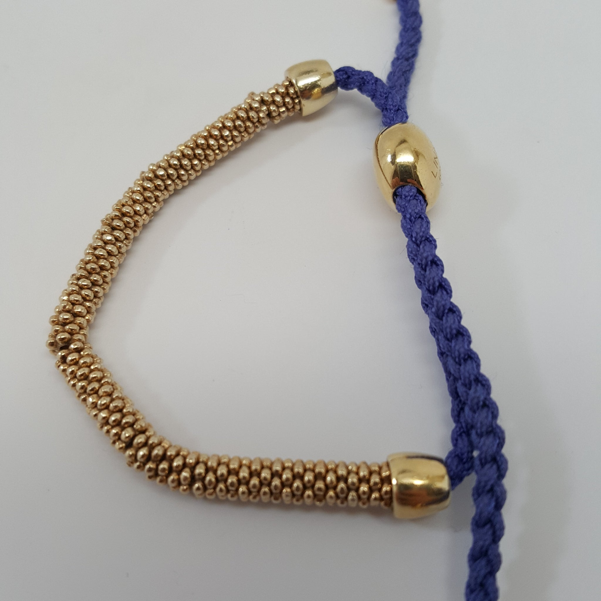 LINKS OF LONDON XS EFFERVESCENCE GOLD VERMEIL & BLUE VIOLET CORD BRACELET