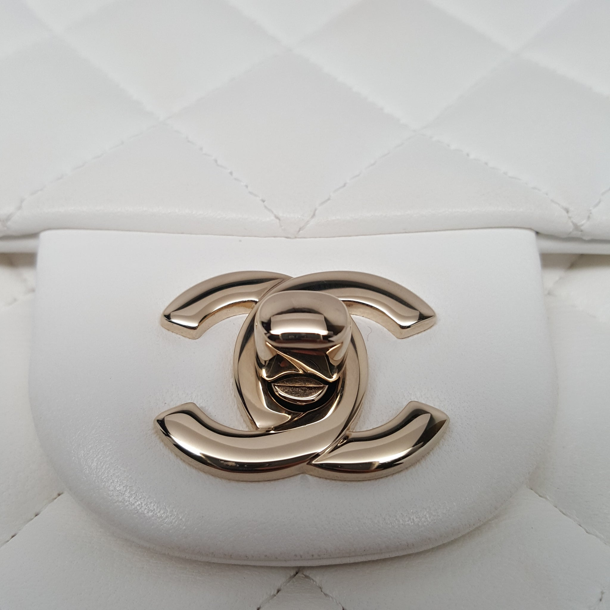 CHANEL CLASSIC OFF-WHITE QUILTED LAMBSKIN MINI FLAP BAG