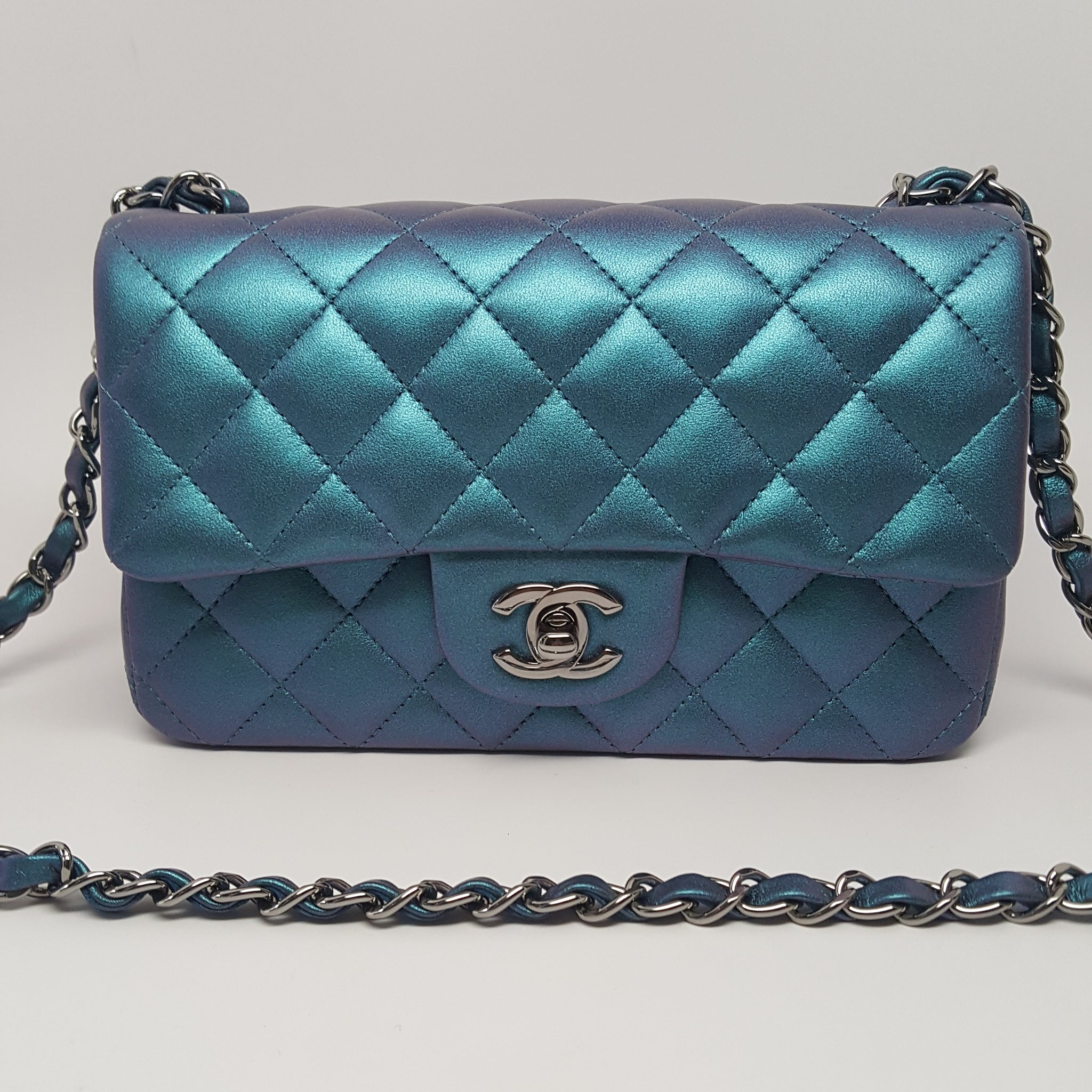 CHANEL CLASSIC METALLIC TURQUOISE QUILTED LAMBSKIN MINI FLAP BAG