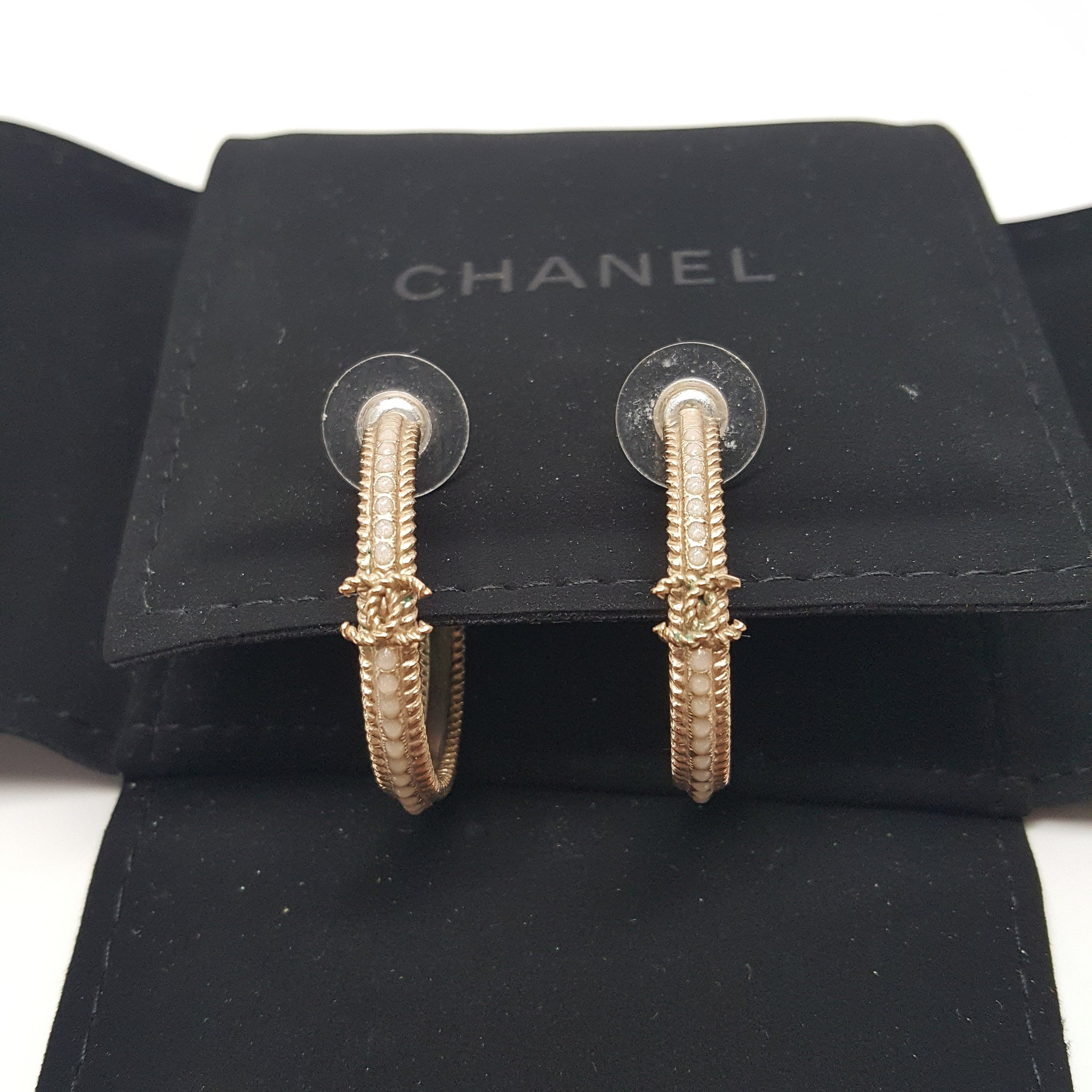 CHANEL CC GOLD HOOP EARRINGS PALE GOLD
