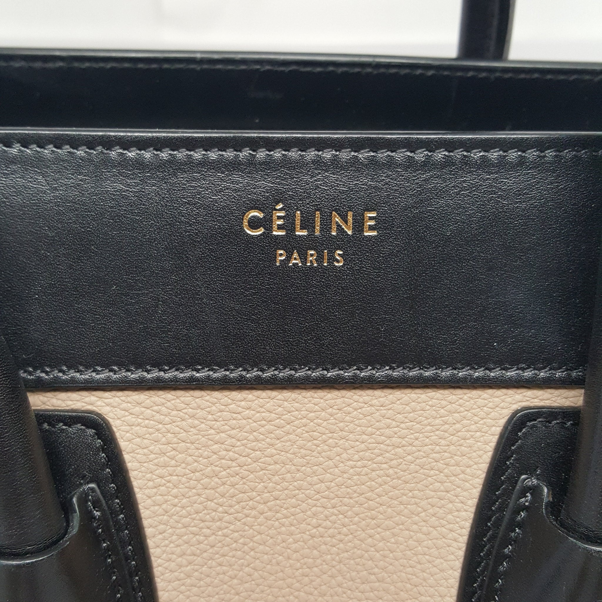 CELINE TAUPE/BLACK/OLIVE GREEN MICRO LUGGAGE TOTE BAG - SMALL