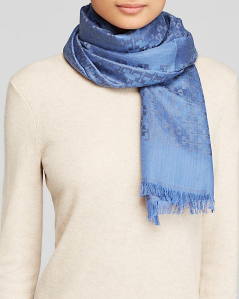 NEW TORY BURCH ALL OVER T SILK BLEND JACQUARD SCARF