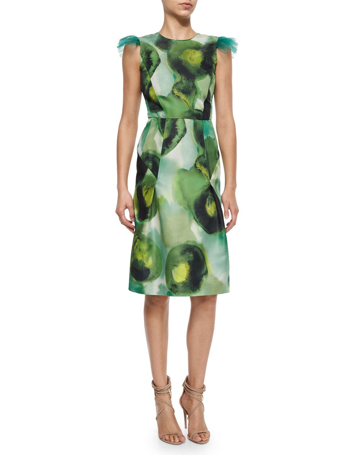BURBERRY PRORSUM FLORAL PRINT SILK COTTON CREPE DRESS - SIZE 42