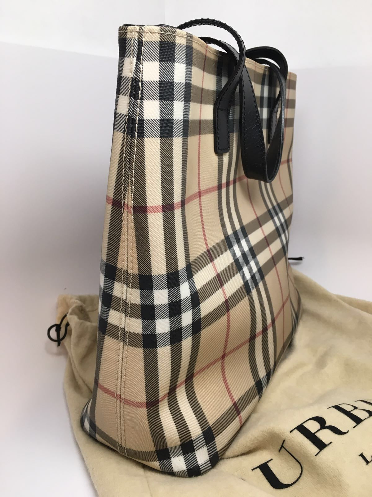 BURBERRY NOVA CHECK COATED CANVAS SHOPPING TOTE