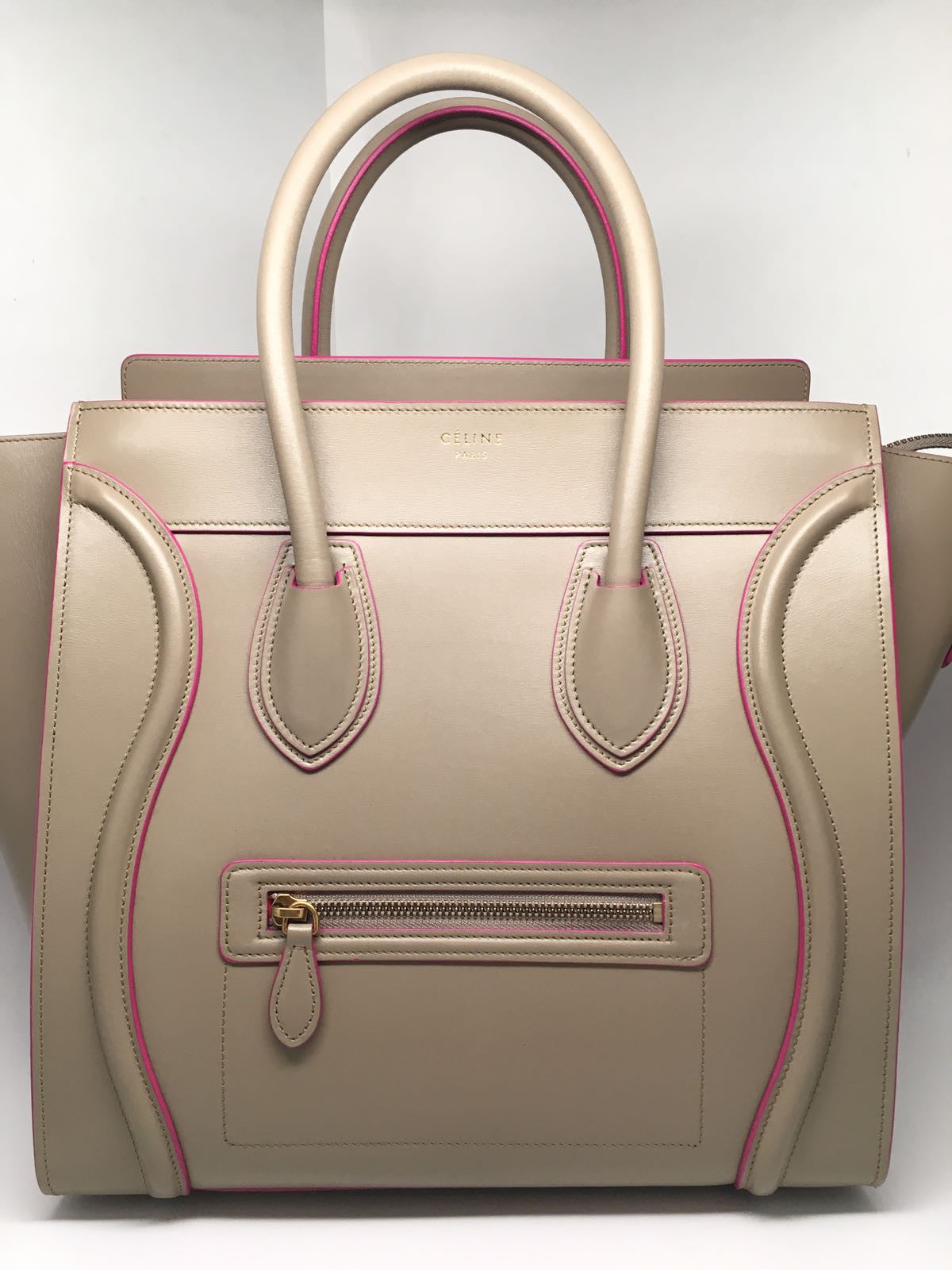 CELINE BEIGE & PINK LUGGAGE TOTE BAG