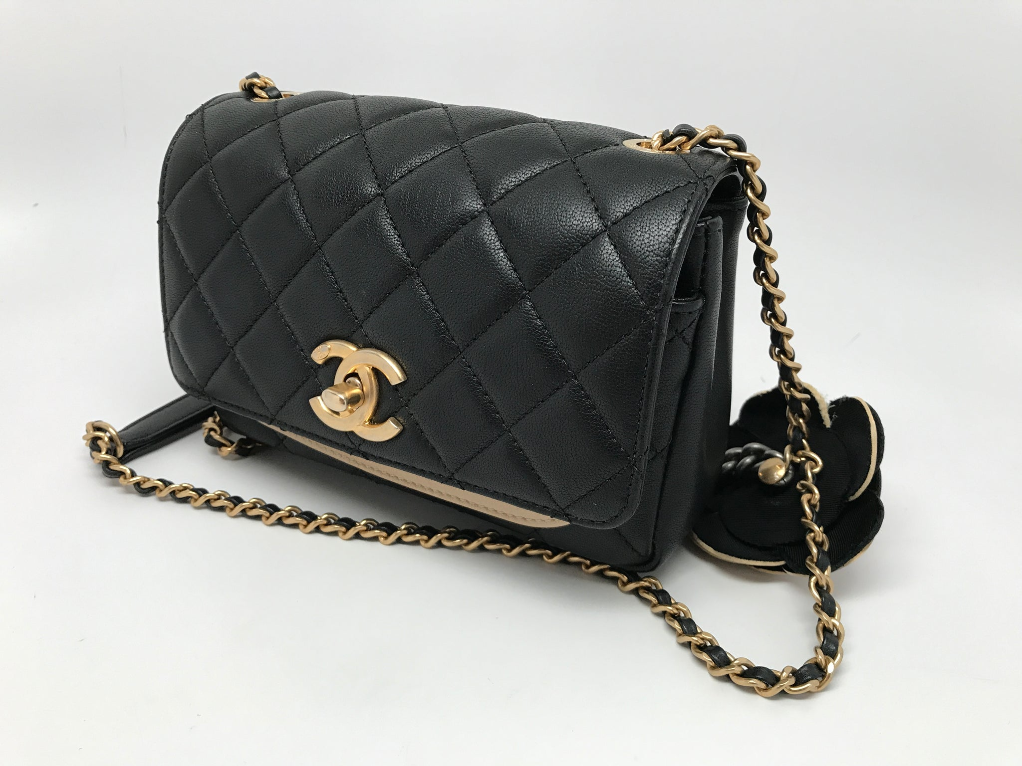 CHANEL CLASSIC CAMELIA FLAP BAG - BLACK