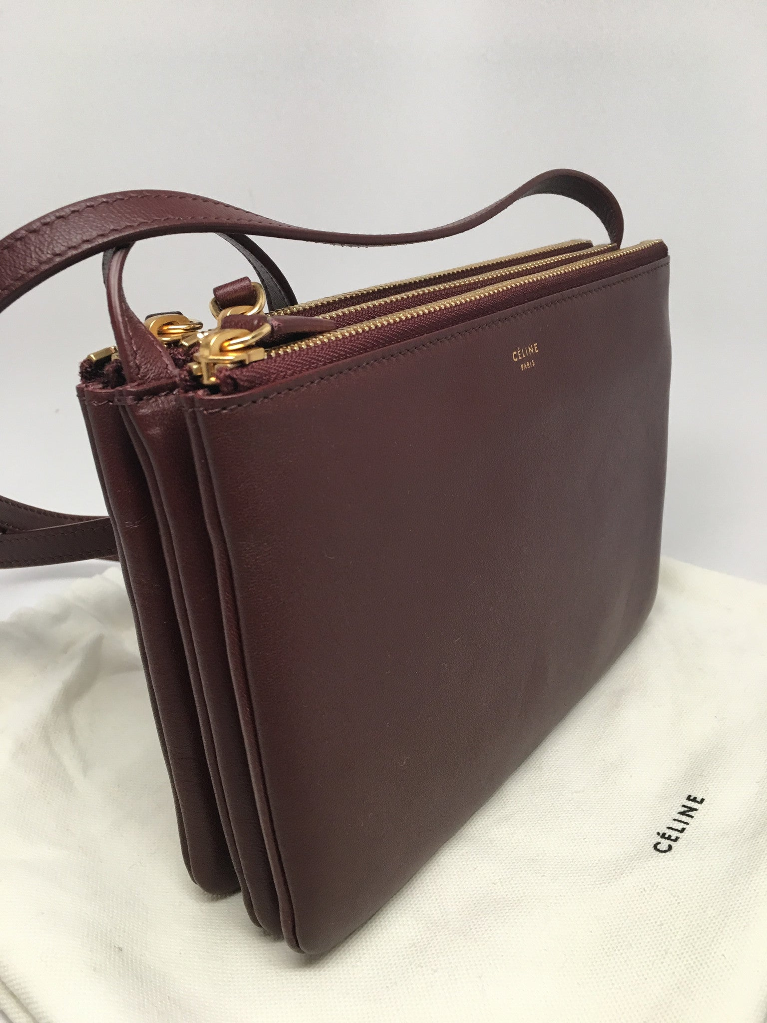 CELINE TRIO BURGUNDY CROSS BODY BAG