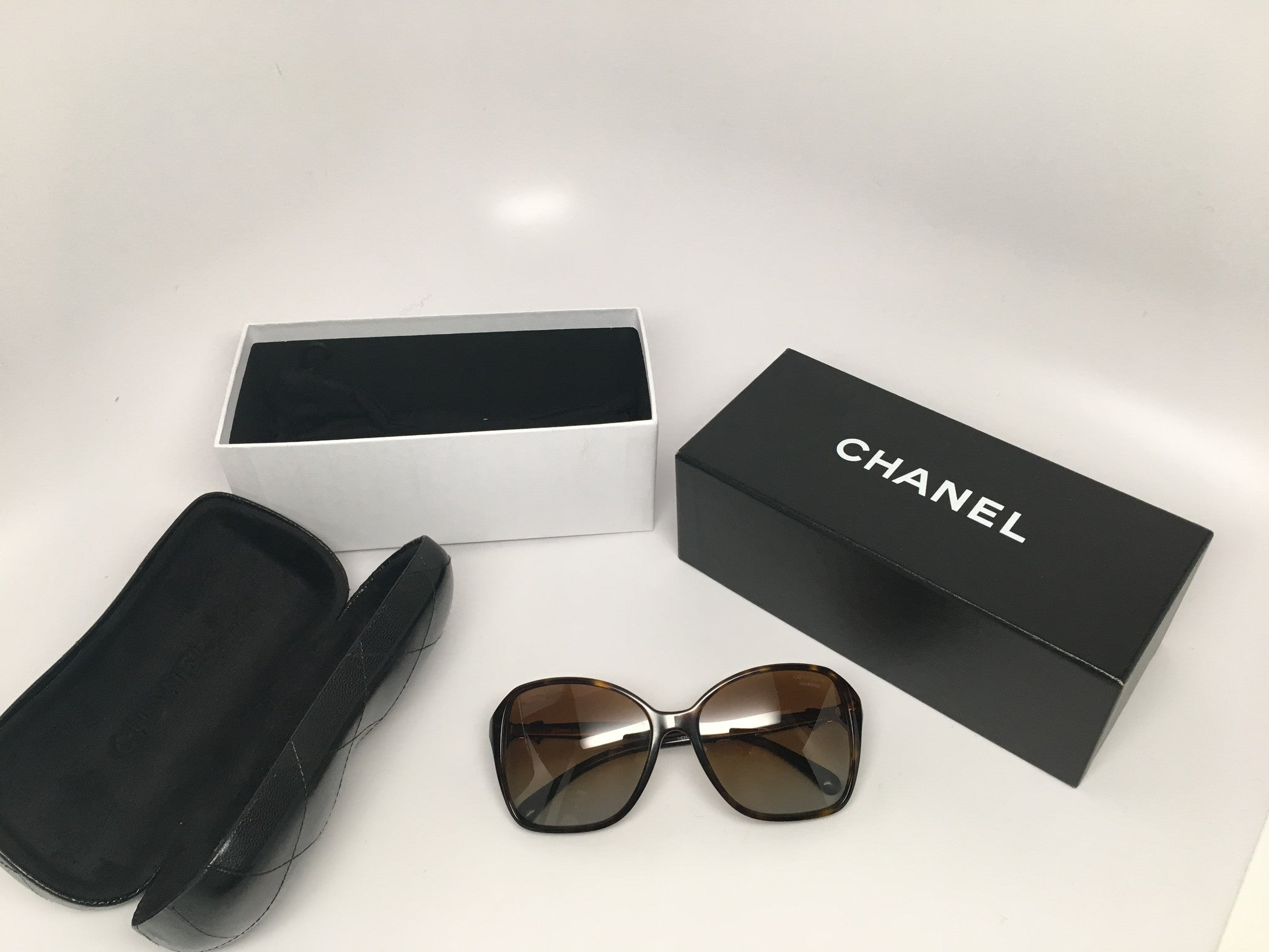 CHANEL 5205 A SQUARE CHARM DARK TORTOISE BOW SUNGLASSES
