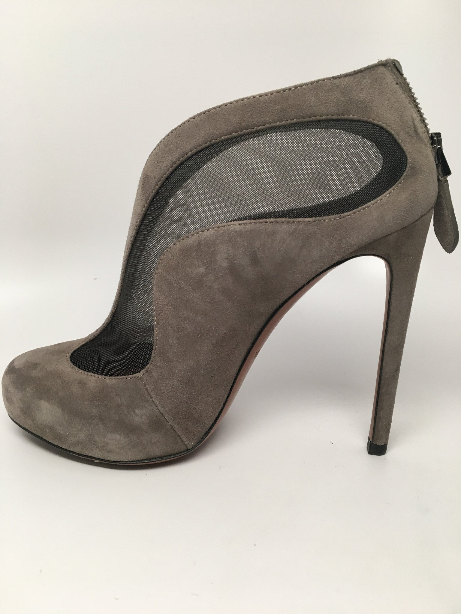 ALAIA PARIS CHAMOIS STILETTO ANKLE BOOTIES - SIZE 37