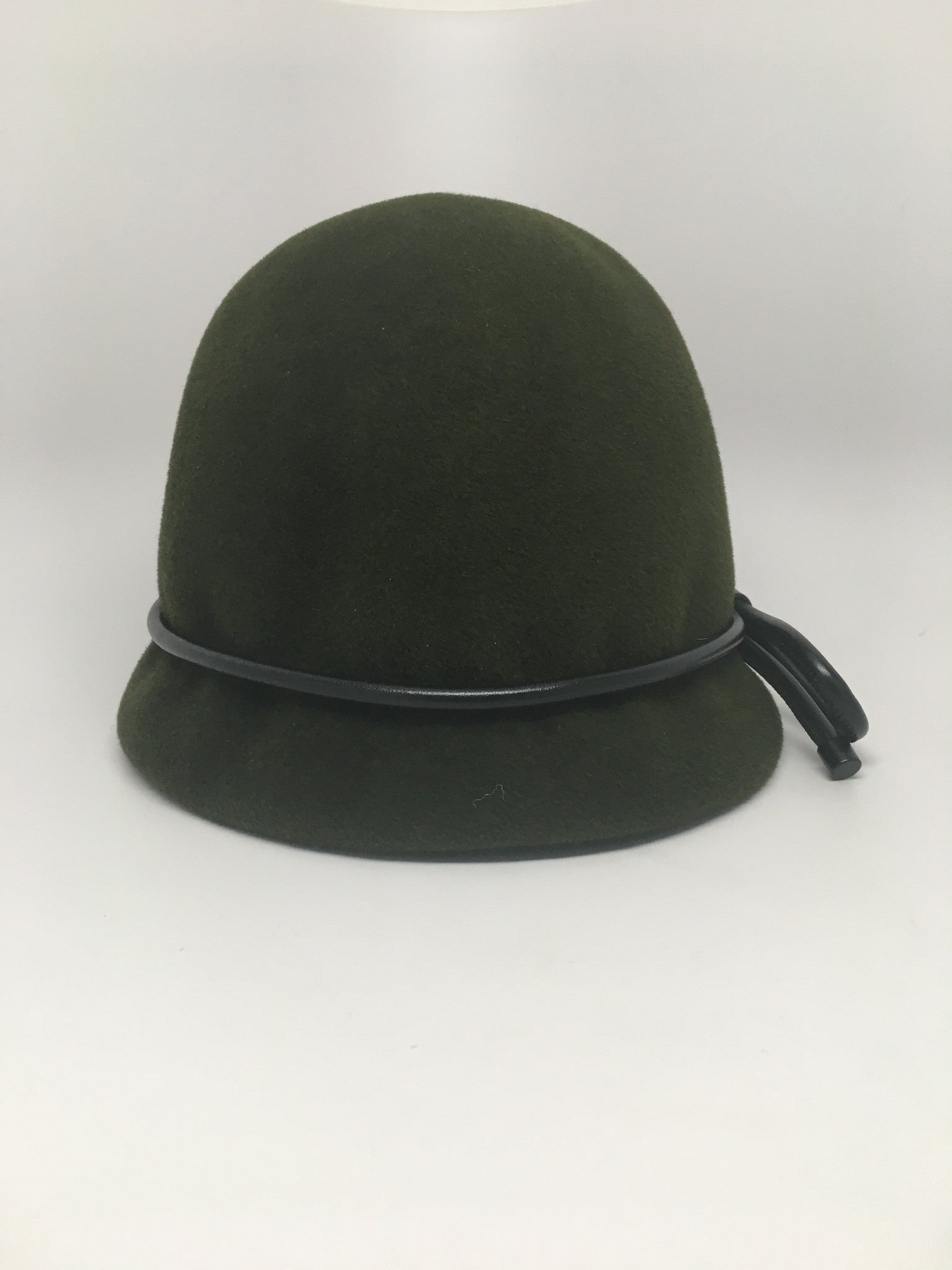 BURBERRY PRORSUM LEATHER TRIMMED CLOCHE HAT - OLIVE GREEN - SIZE M/L