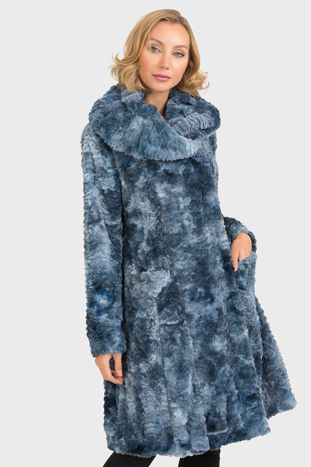 JOSEPH RIBKOFF BLUE FUR COAT - SIZE 12