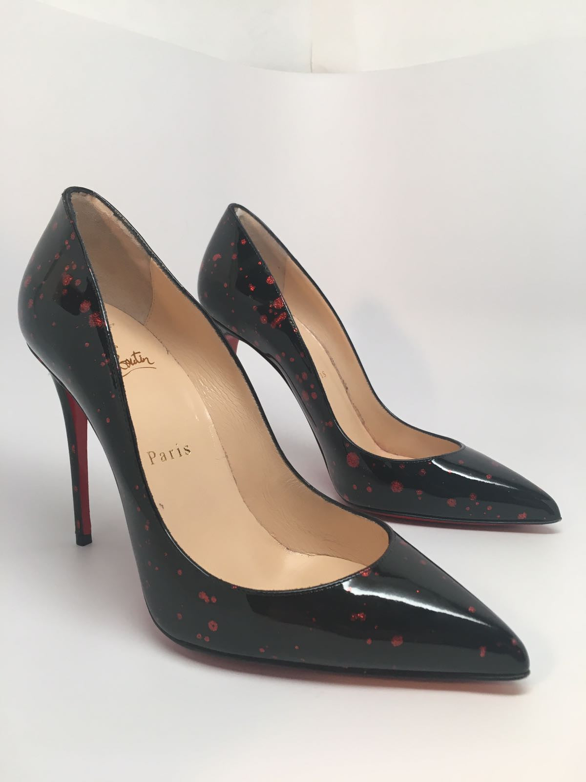 11d12db3388 CHRISTIAN LOUBOUTIN PIGALLE FOLLIES 100 PATENT POLLOCK - SIZE 37.5 –  Hebster Boutique